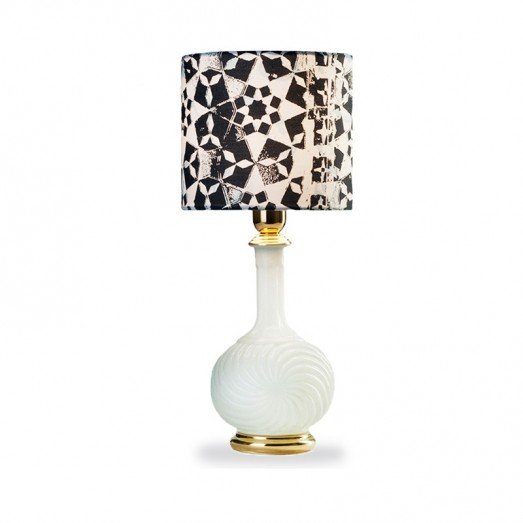 Chalice Table Lamp - White Base with star shade