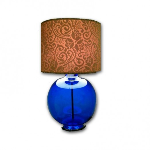 With Printed Shade Glass Table Lamp