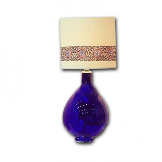 With Printed Shade Blue Glass Table Lamp
