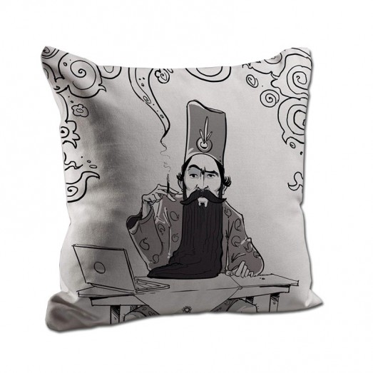 Man with laptop and smokes cushion