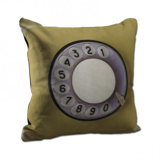 Yellow telephone key cushion