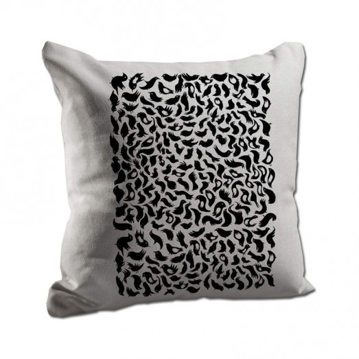 Black bird pattern cushion