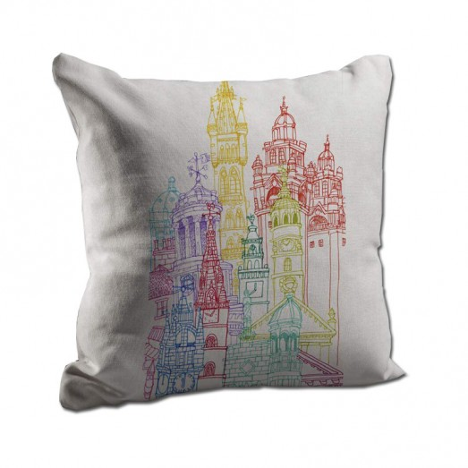 Colorful buildings cushion