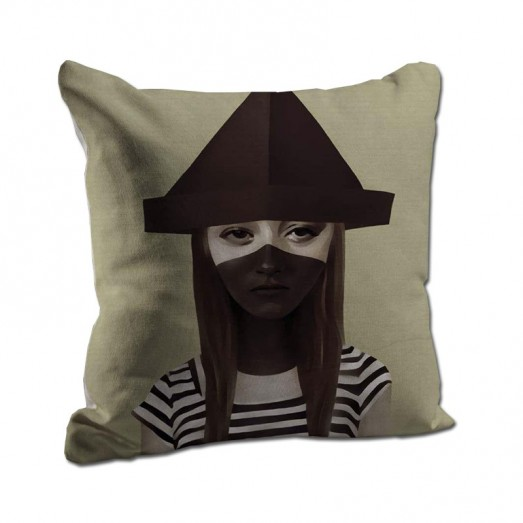 Girl with a hat cushion