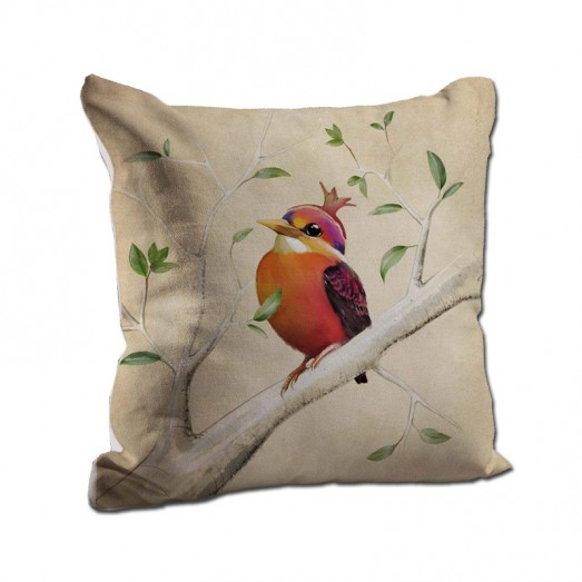 Orange bird cushion