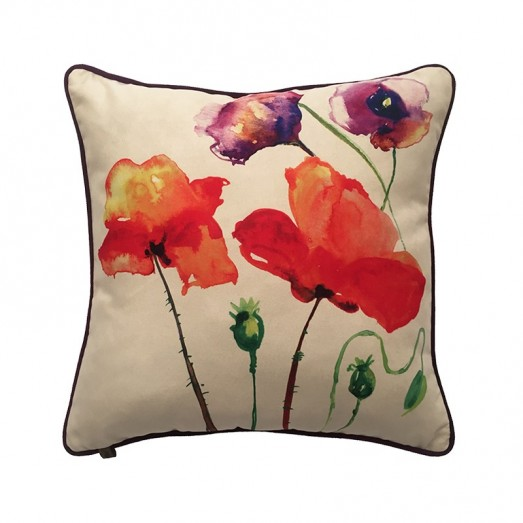 White cushion with flower printing